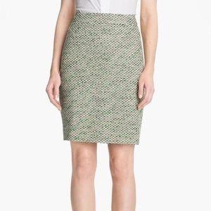 Kate Spade Green & Ivory Judy Tweed Pencil Skirt